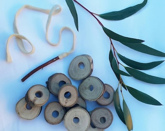 Natural wooden tree branch threading lacing game (set of 12 with stick needle).Made sustainably from fallen trees. Waldorf wooden toys