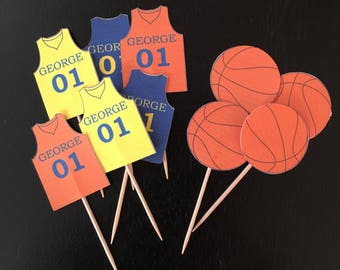 3fd8ff6c6420 Personalized Basketball Theme Sports Party Birthday Cupcake Pick Toppers