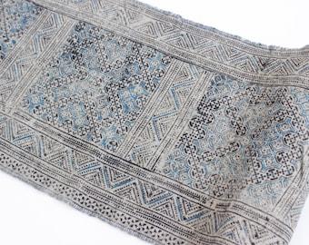 Vintage Hmong Hemp Batik Indigo Fabric