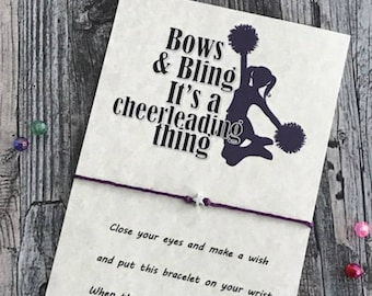Cheer leading bracelet Wish Bracelet Favor Cheer Gift Cheerleader Gifts Sports Team Gifts Team Favors Gift from Coach Competition Gift