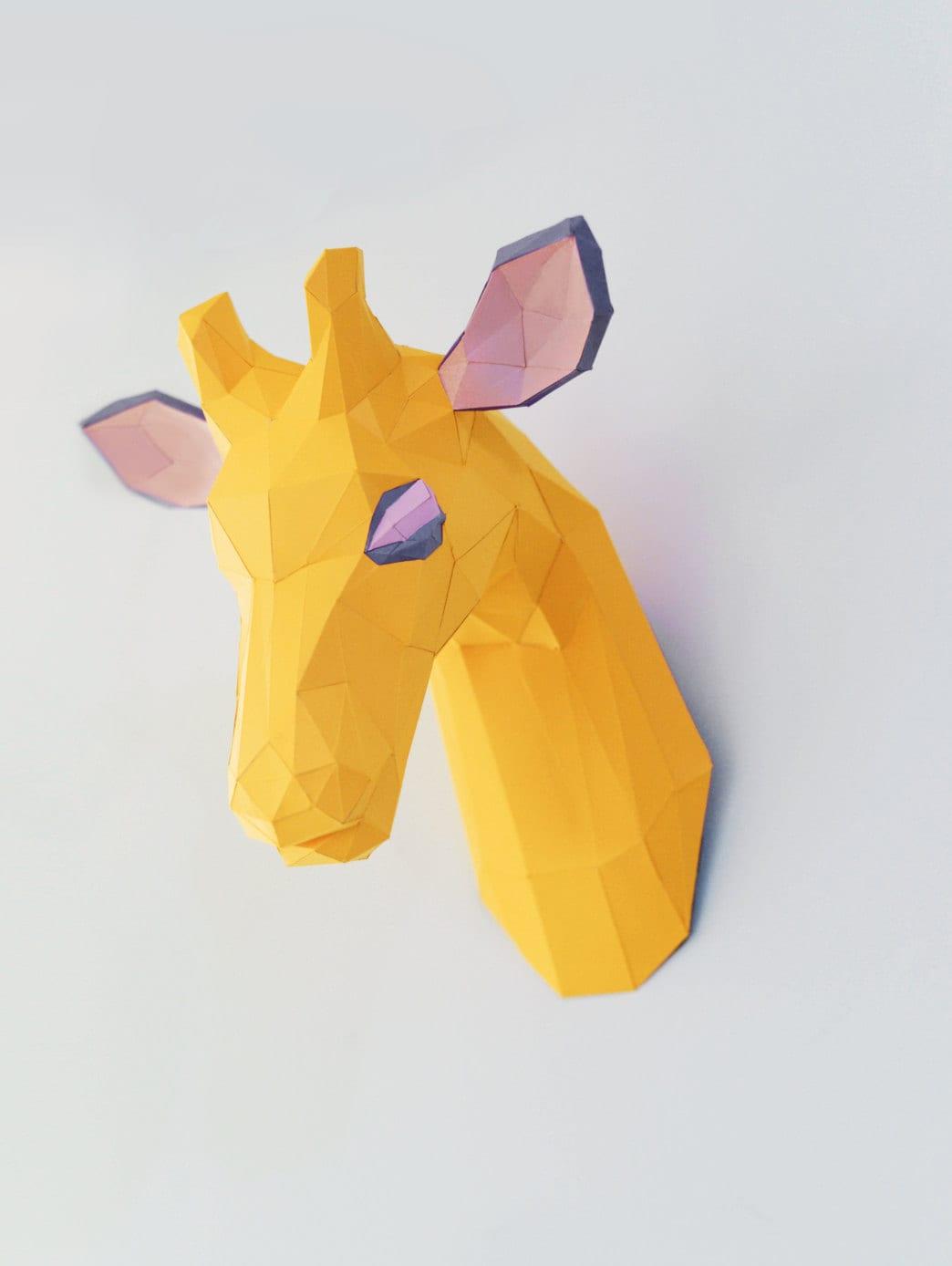 Giraffe Paper Head Trophy Wall Mount Home Decor Faux