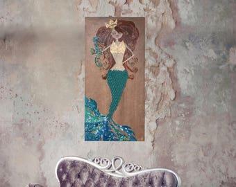 Textured mermaid wall art painting - original mermaid fine art on ready to hang canvas 48x24