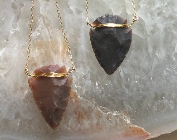 Natural Carved Slate Arrowhead Gold Boho Necklace