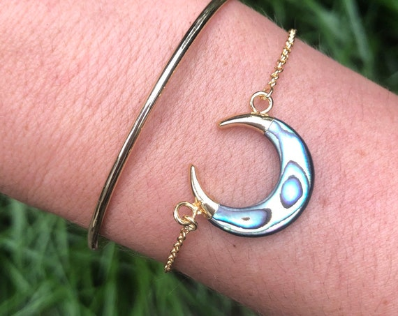Abalone Carved Shell Crescent Moon Bracelet