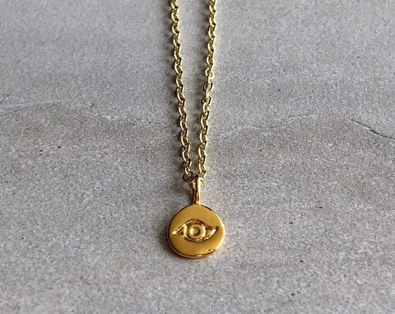 Dainty Evil Eye 14K Gold Charm Necklace