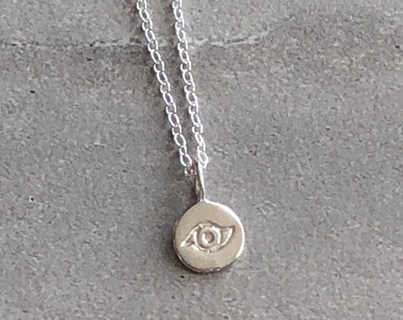 Sterling Silver Dainty Evil Eye Charm Necklace