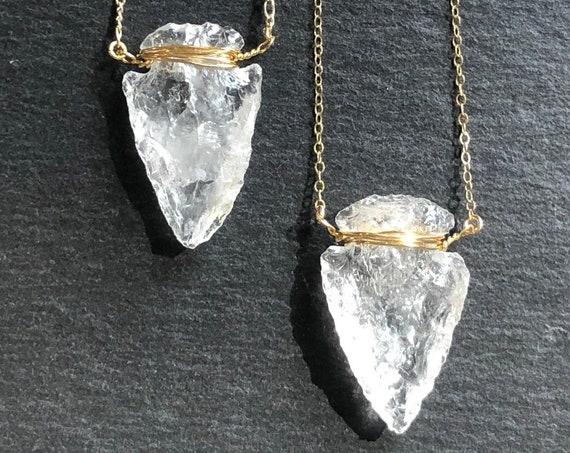 Raw Quartz Crystal Boho Arrowhead 14K Gold Necklace