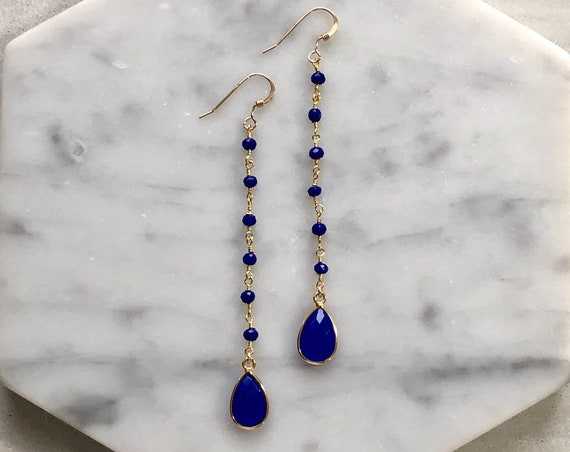 Blue Chalcedony 14K Gold Filled Rosary Chain Crystal Drop Earrings