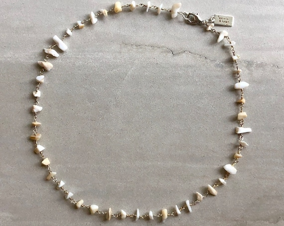 Raw White Opal Silver Rosary Chain Boho Choker Necklace