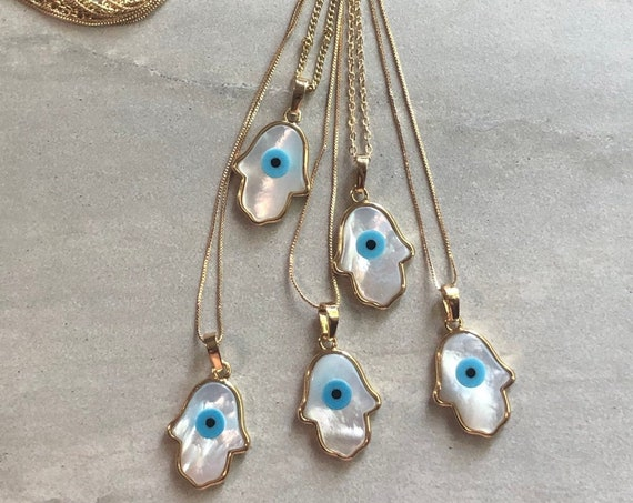 Gold Carved Shell Hamsa Evil Eye Protection Necklace