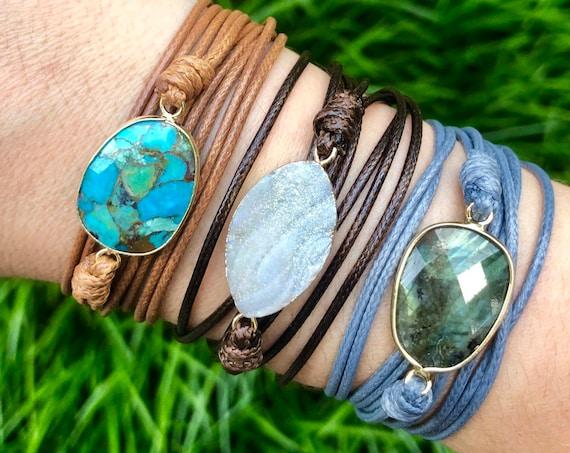 Crystal Wrap Bracelet/ Leather Wrap Bracelet/ Boho Wrap Bracelet/ Cord Wrap Bracelet/ Boho Gold Bracelet/ Chrysoprase Crystal Bracelet