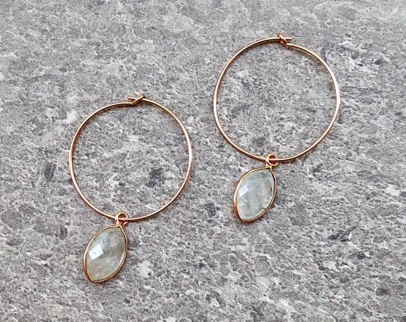 Dainty 14K Rose Gold Rainbow Moonstone Crystal Hoop Earrings