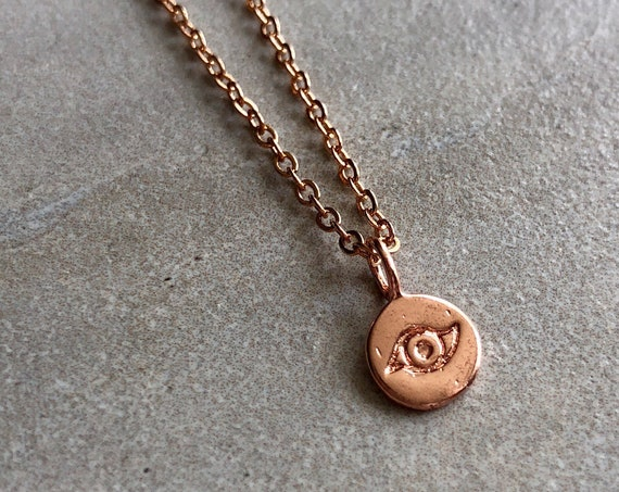 Dainty 14K Rose Gold Evil Eye Charm Choker/ Layering Necklace