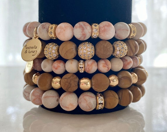 Matte Pink Jaser Natural Bead Bracelet Stack