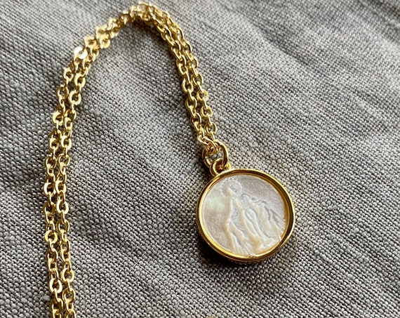 Super Dainty 14K Gold Mother Mary Necklace