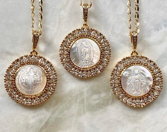 Mother Mary Necklace 14K Gold Boho Necklace