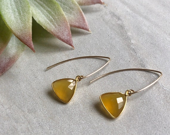 Yellow Chalcedony Marquis Crystal 14K Gold Filled Earrings