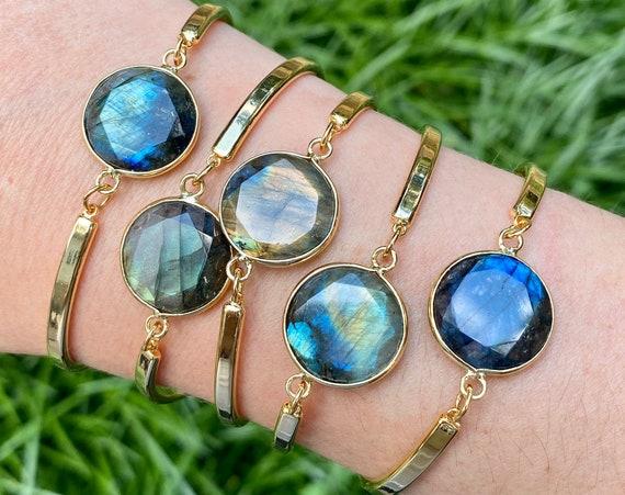 Brilliant Gold Labradorite Crystal Bracelet