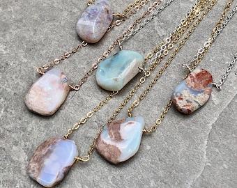 Simple Raw Australian Opal Gemstone Necklace