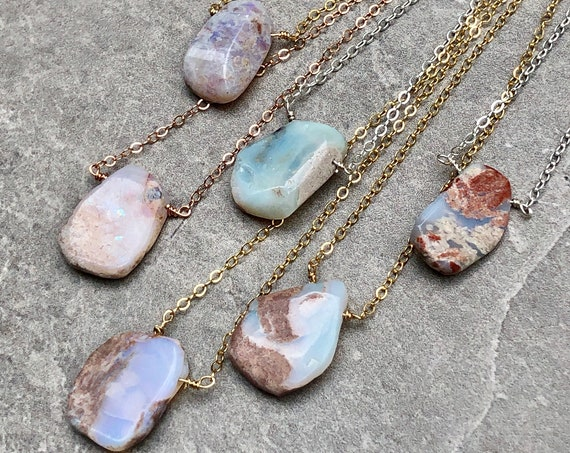 Simple Raw Australian Opal Gemstone Necklace