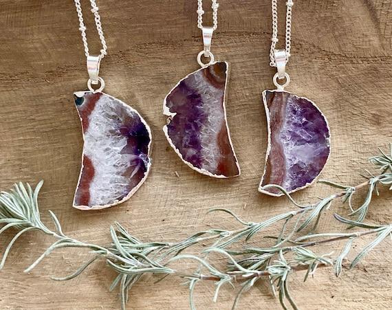 Raw Amethyst Slice Silver Moon Necklace