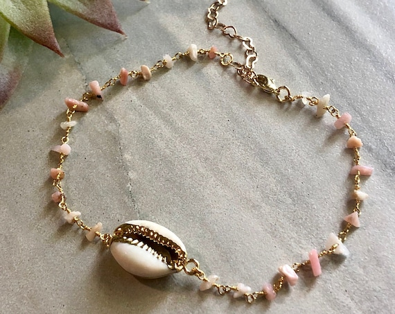 Gold Cowrie Shell Pink Opal Chip Chain Anklet