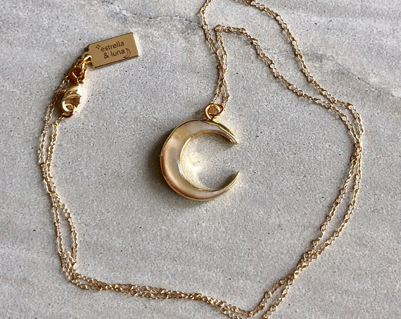 Carved Shell Crescent Moon 14K Gold Boho Necklace