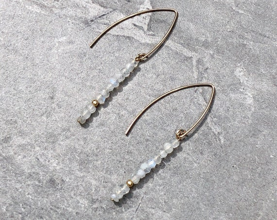 Rainbow Moonstone Crystal 14K Gold Marquis Earrings