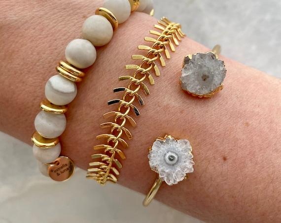 Raw Stalactite Crystal Gold Cuff Bracelet