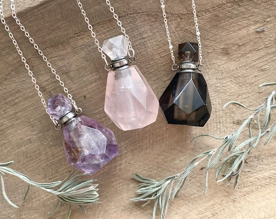 Natural Stone Silver Perfume Bottle / Essential Oil Diffuser Necklace