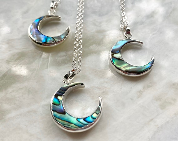 Sterling Silver Abalone Crescent Moon Boho Necklace