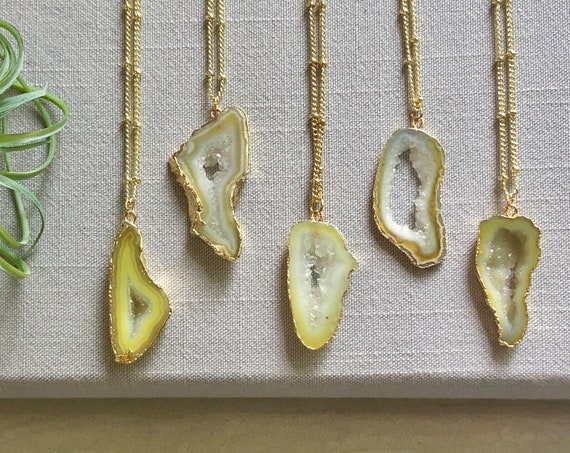 Lemon Geode Crystal Slice Pendant Necklace
