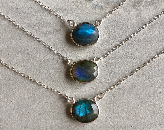 Sterling Silver Boho Labradorite Crystal Necklace