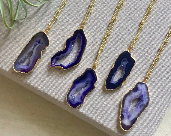 Purple Geode Crystal Slice Pendant Necklace