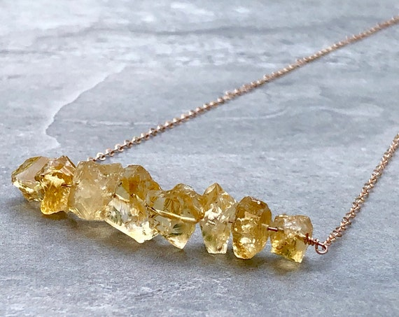 Raw Citrine 14K Rose Gold Raw Crystal Necklace