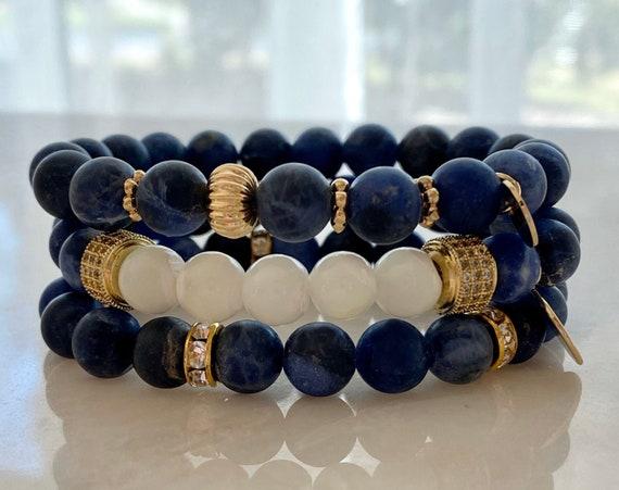 Sodalite Matte Blue Gold Bead Bracelet Stack