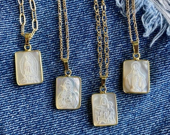 Religious Carved Shell Pendant Necklaces