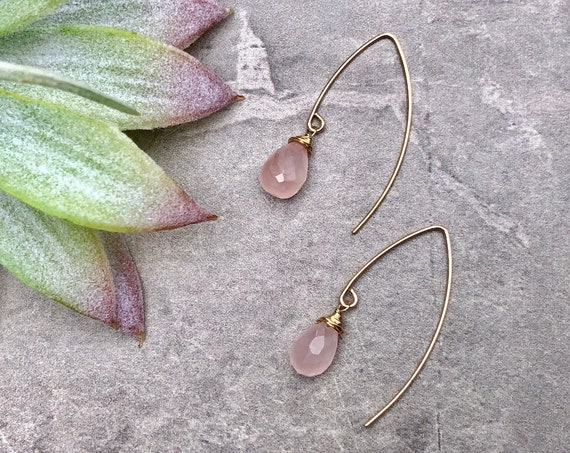 Dainty Teardrop Rose Quartz Crystal 14K Gold Filled Marquis Earrings