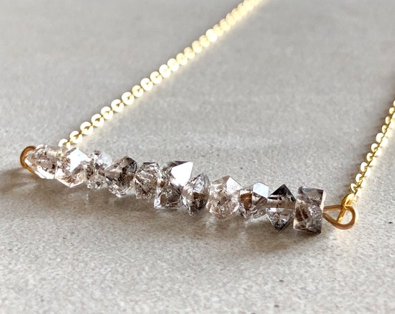 Raw Herkimer Diamond 14K Gold Crystal Bar Necklace
