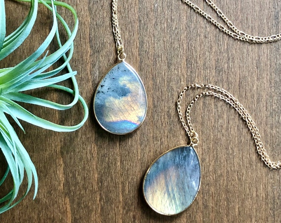 Brilliant Labradorite Crystal 14K Gold Necklace