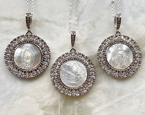 Sterling Silver Boho Mother Mary Necklace