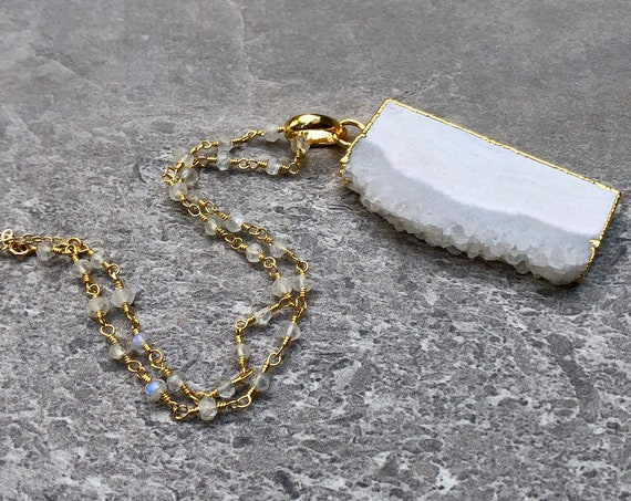 Raw Stalactite Crystal Slice 14K Gold Rainbow Moonstone Rosary Chain Necklace