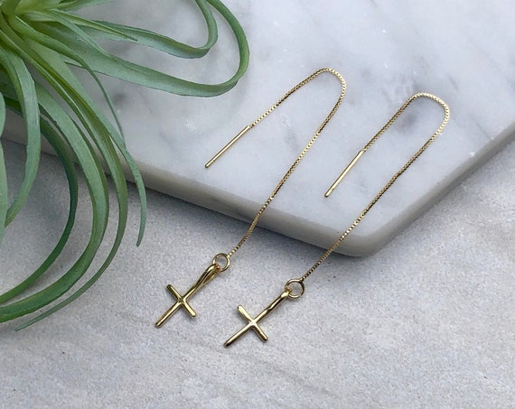 Dainty Gold Cross Boho Threader Earrings