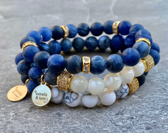 Matte Blue Sodalite Natural Stone Bead Bracelet Stack