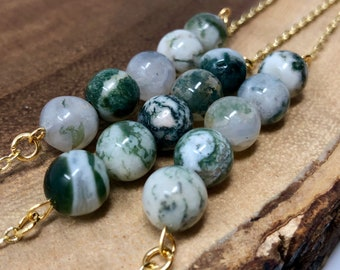 Moss Agate Necklace / Moss Agate Bead / Boho Moss Agate Necklace / Boho Layering Necklace