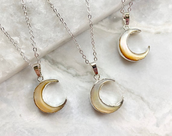 Sterling Silver Boho Crescent Moon Carved Shell Pendant Necklace