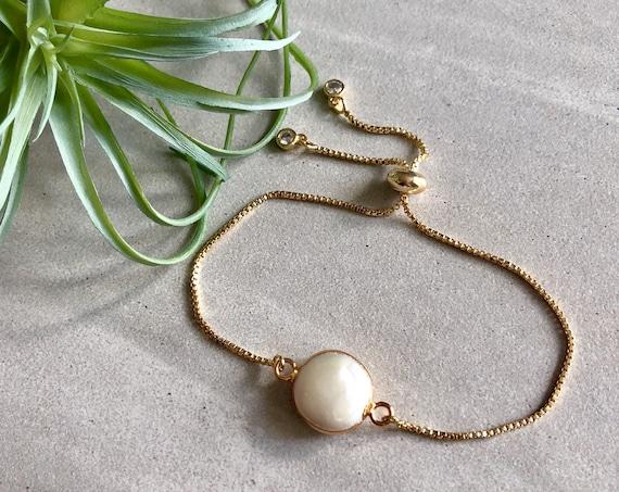 Dainty Minimalist Pearl 14K Gold Chain Bracelet