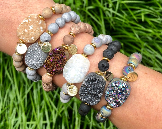 Raw Druzy Crystal Natural Stone Bead Bracelet