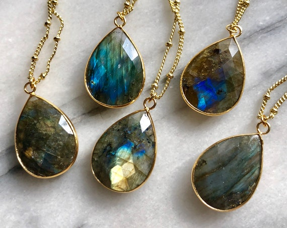 Nebula Labradorite Crystal 14K Gold Necklace