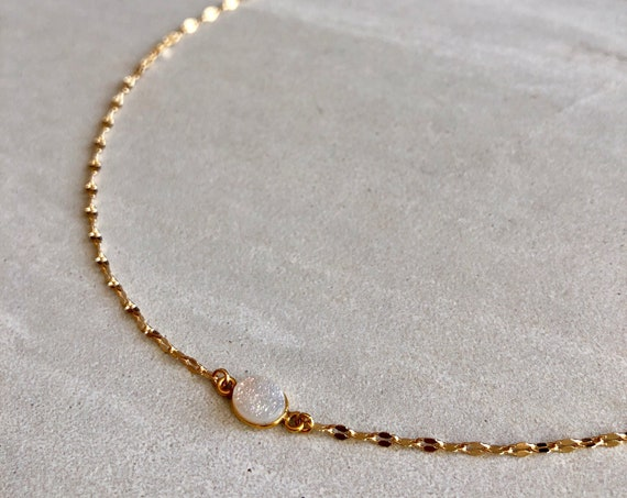 Dainty Raw Druzy 22K Gold Simple Choker Necklace